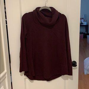 Wine colored cowl neck sweater